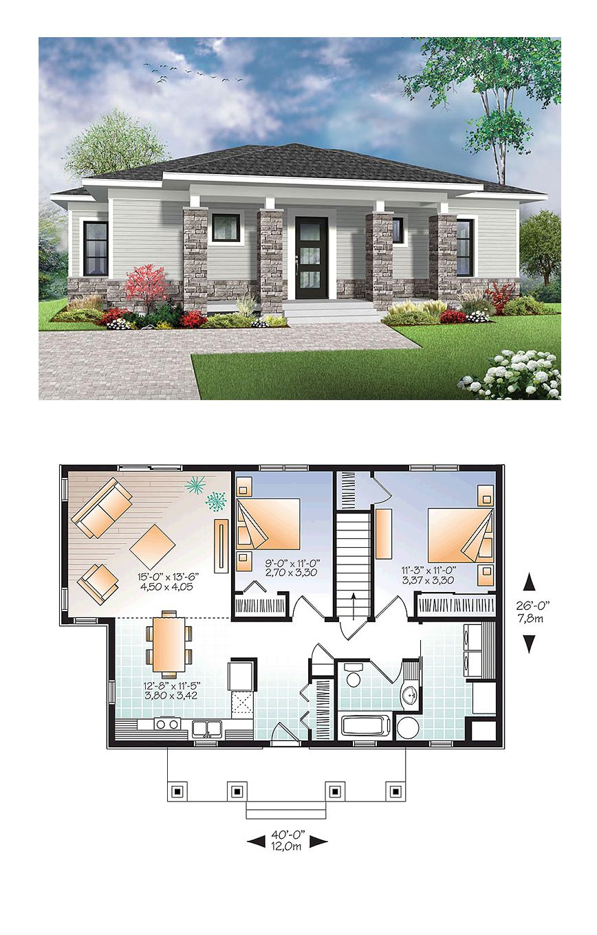 Modern House Plan 76437 Total Living Area 1007 Sq Ft 2 intended for 12 Some of the Coolest Tricks of How to Craft Modern Two Bedroom House Plans