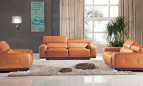 Modern Leather 3 Piece Set Elegance Decor intended for Modern Leather Living Room Set