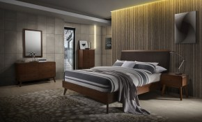 Modrest Marshall Mid Century Modern Brown Fabric Walnut for 11 Genius Designs of How to Build Brown Modern Bedroom