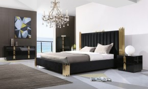 Modrest Token Modern Black Gold Bedroom Set with regard to Black Modern Bedroom Set