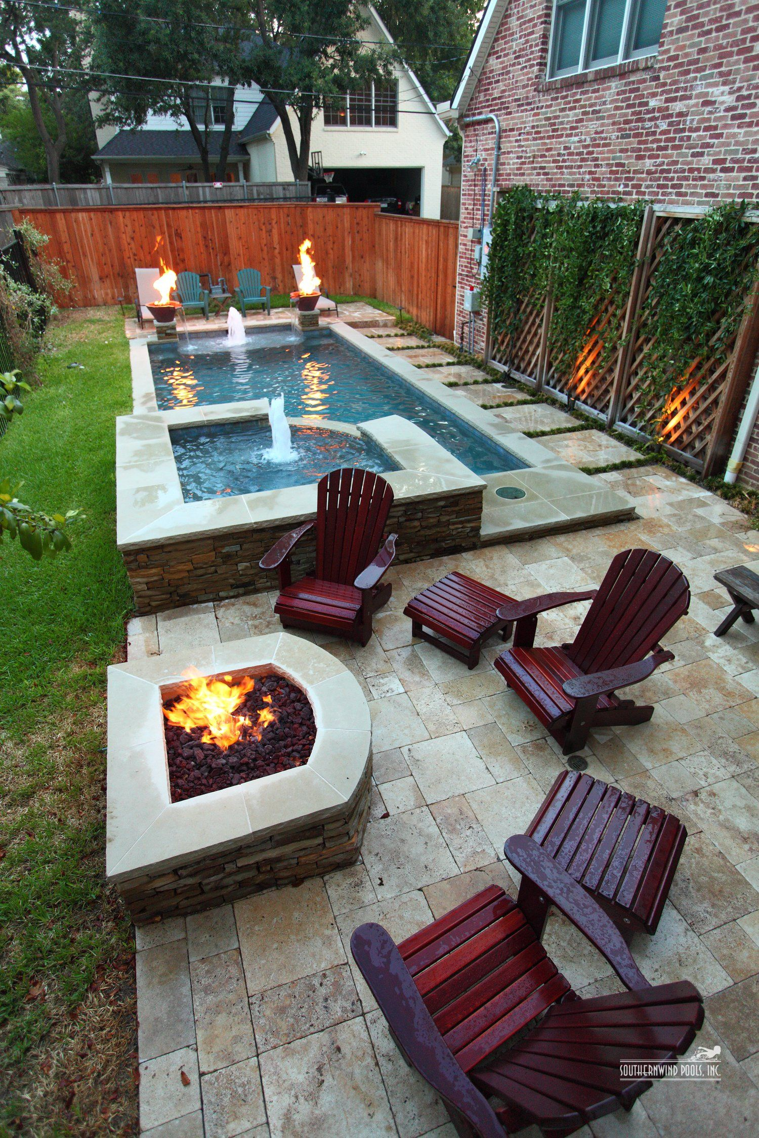 Narrow Pool With Hot Tub Firepit Great For Small Spaces In My inside Small Backyard With Pool Landscaping Ideas