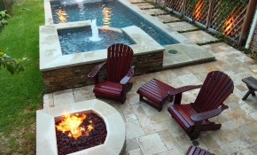 Narrow Pool With Hot Tub Firepit Great For Small Spaces In My with Patio Ideas For Small Backyards