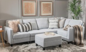Noble House 6 Piece Light Gray Fabric Sectional And Ottoman Set with 6 Piece Living Room Set