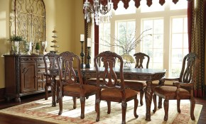 North Shore Rectangular Extendable Dining Room Set From Ashley D553 inside Living Room Set On Sale