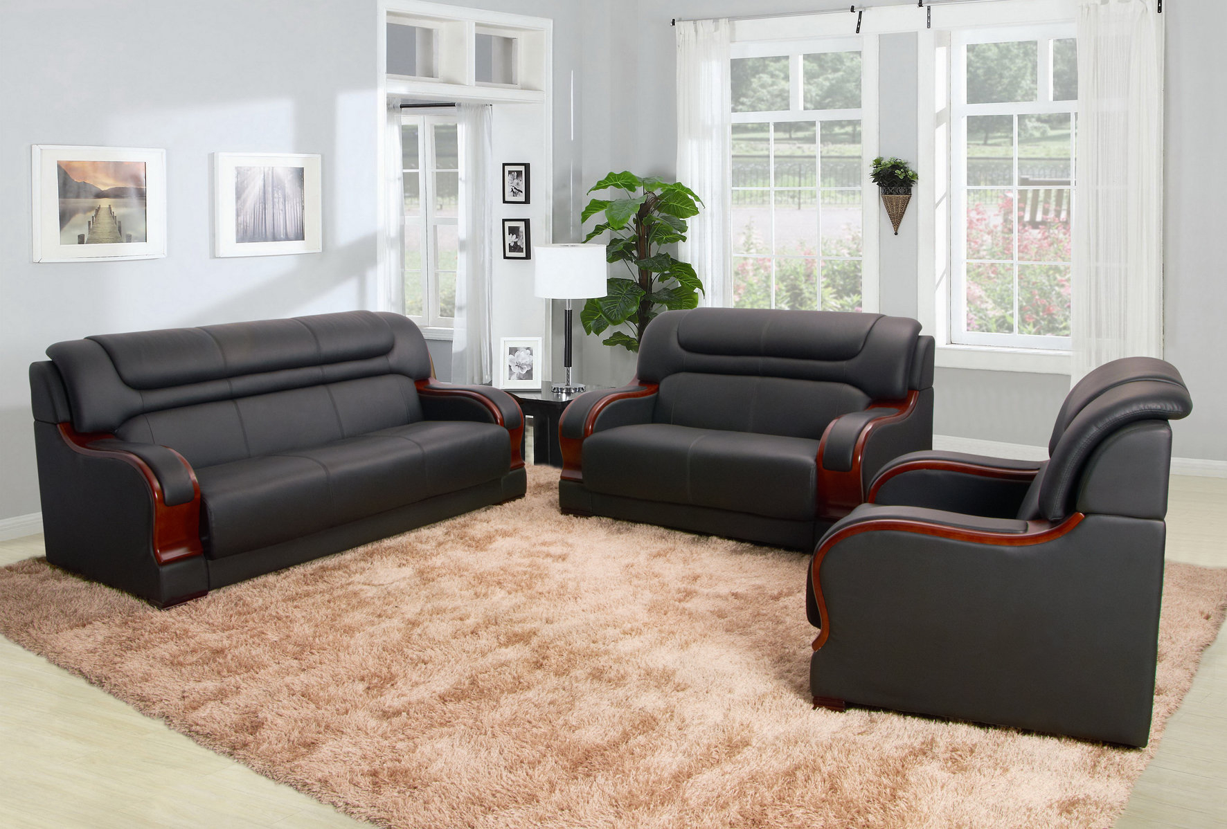 Orren Ellis Cahlil Leather 3 Piece Living Room Set Wayfair intended for 12 Genius Ways How to Upgrade Living Room Sets Leather