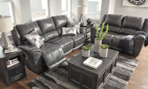 Persiphone Charcoal Power Reclining Living Room Set From Ashley for Recliner Living Room Set