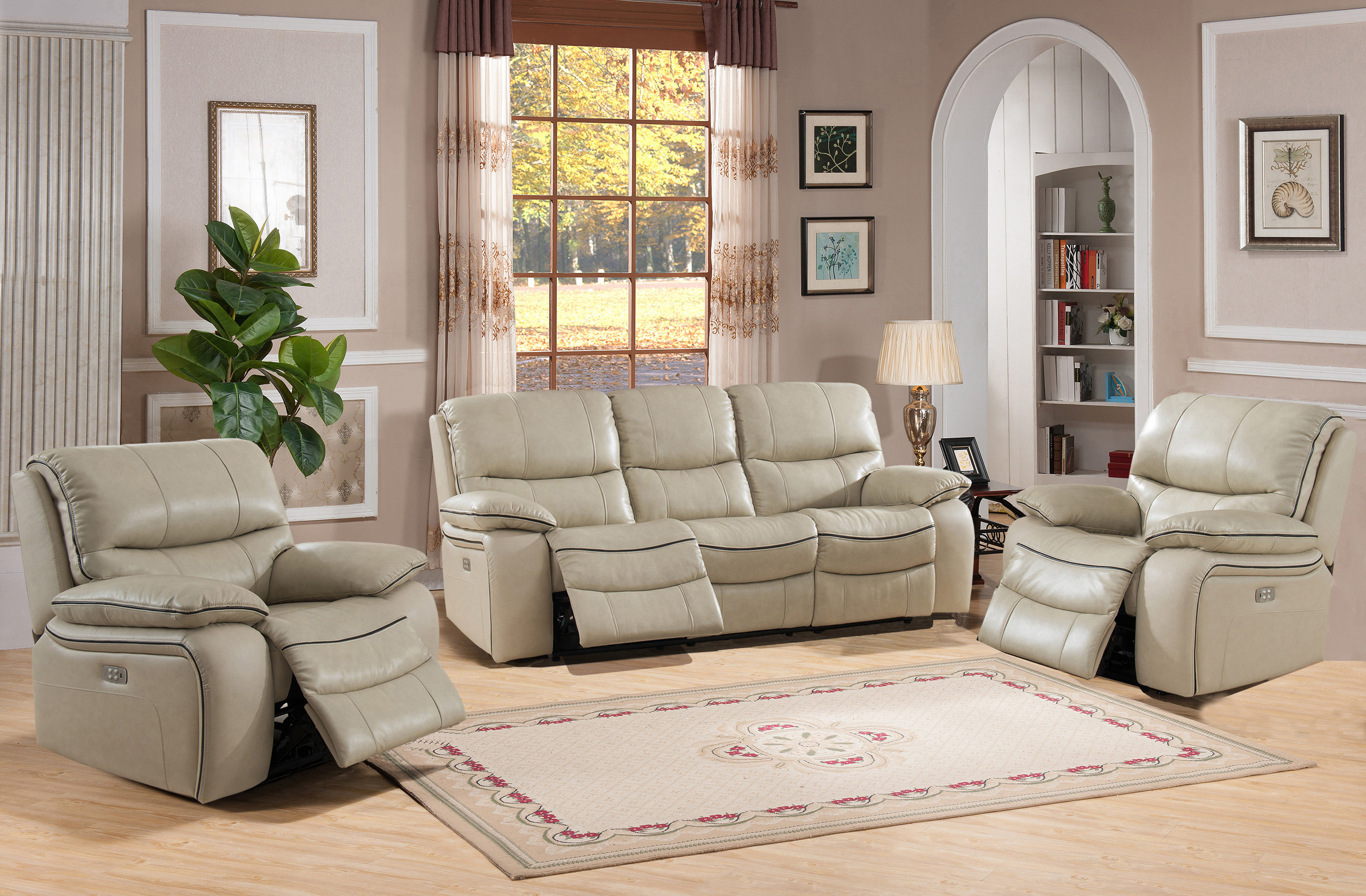 Red Barrel Studio Deshaun Reclining 3 Piece Leather Living Room Set in Beige Leather Living Room Set