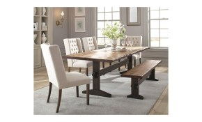Scott Living Burnham Rustic Live Edge Dining Table Set With Bench with regard to Live Room Set