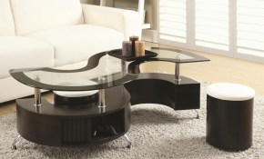 Serpentine Coffee Table With Stools Cocktail Tables Seat N Sleep with Table Sets Living Room