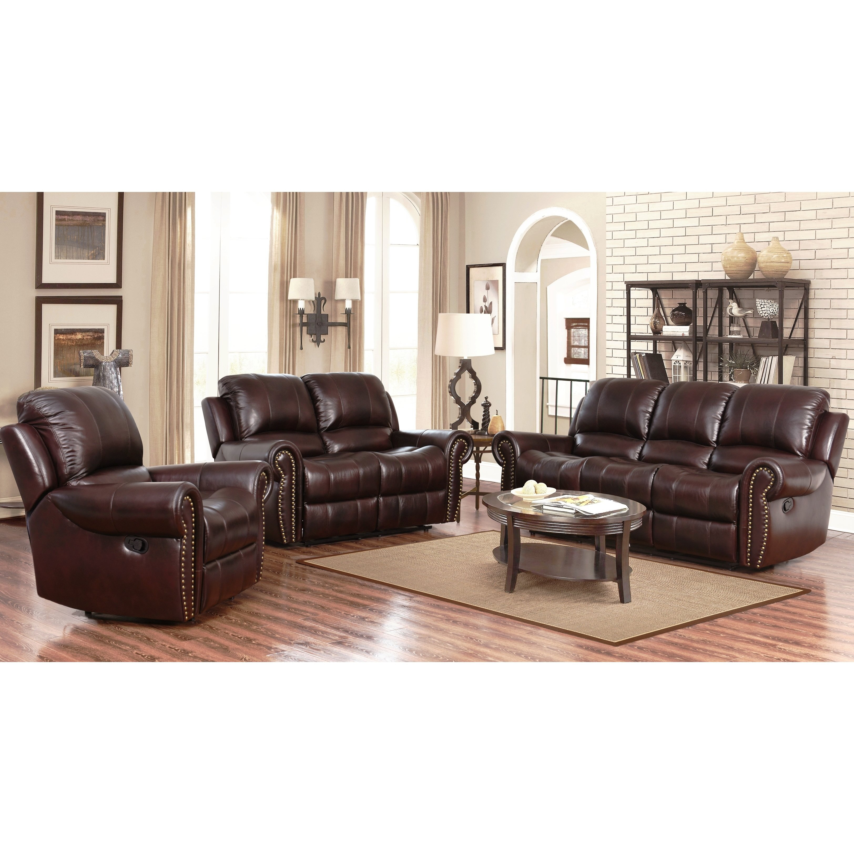 Shop Abson Broadway Top Grain Leather Reclining 3 Piece Living regarding 11 Smart Concepts of How to Upgrade Living Room Recliner Sets