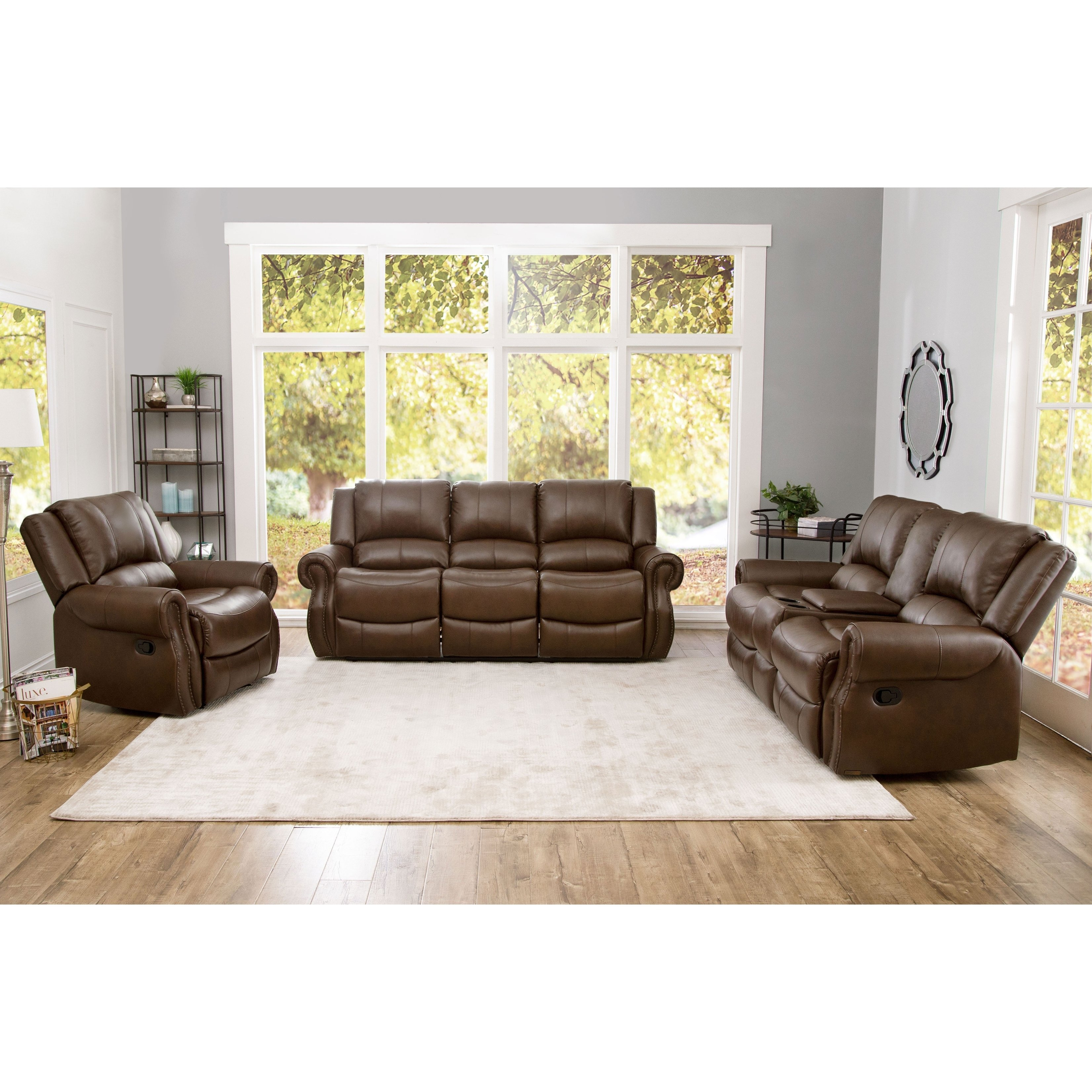 Shop Abson Calabasas Mesa Brown Leather 3 Piece Reclining Living in Leather Living Room Set