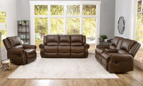 Shop Abson Calabasas Mesa Brown Leather 3 Piece Reclining Living intended for 13 Awesome Ways How to Improve 3 Piece Leather Reclining Living Room Set