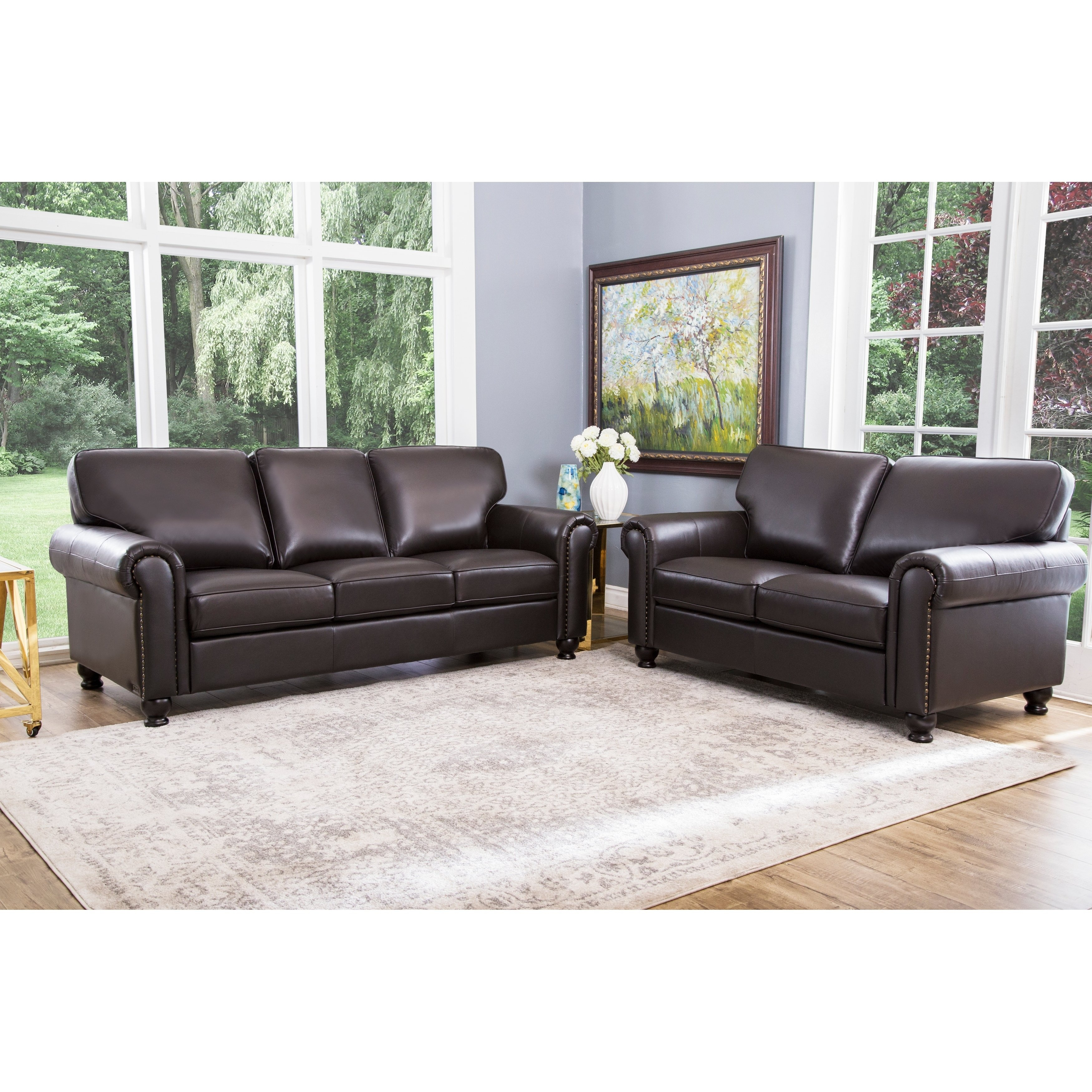 Shop Abson London Top Grain Leather 2 Piece Living Room Set Free for Living Room Set
