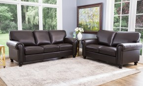 Shop Abson London Top Grain Leather 2 Piece Living Room Set Free intended for 13 Awesome Initiatives of How to Craft Cheap Living Room Sets