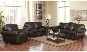 Shop Abson Richfield Top Grain Leather Living Room Sofa Set Free intended for 12 Smart Ideas How to Build Chair Set Living Room