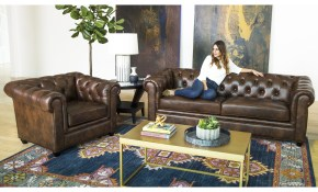 Shop Abson Tuscan Top Grain Leather Chesterfield 2 Piece Living within 15 Genius Concepts of How to Craft 2 Piece Living Room Furniture Set