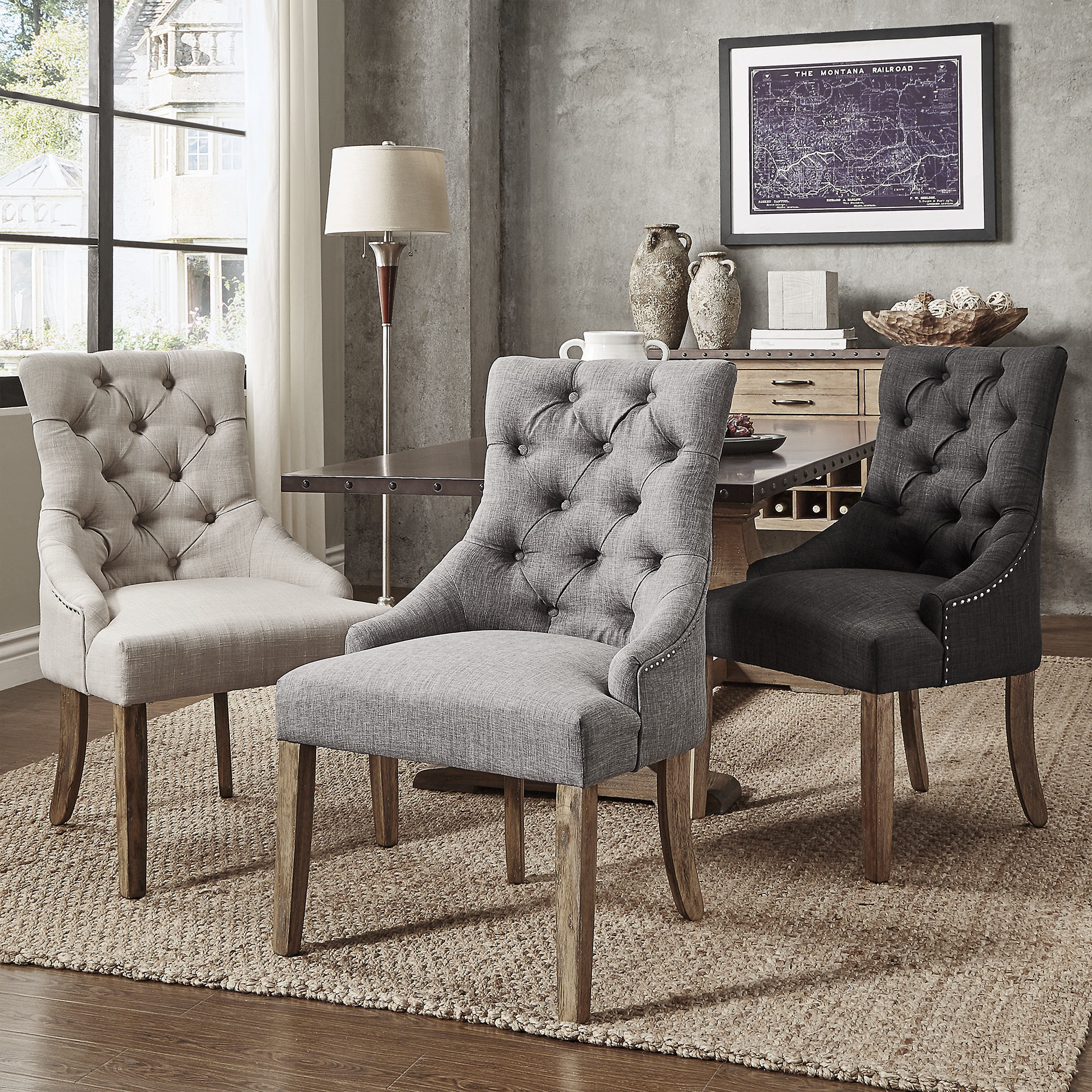 Shop Benchwright Button Tufts Wingback Hostess Chairs Set Of 2 inside Chair Set Living Room