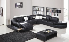 Shop Black And White Modern Contemporary Real Leather Sectional regarding Black And White Living Room Sets