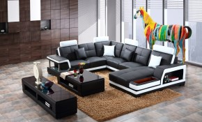 Shop Black And White Modern Contemporary Real Leather Sectional throughout Black And White Living Room Sets