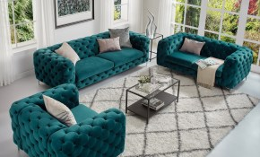 Shop Corvus Aosta Tufted Velvet Loveseat And Sofa Living Room Set with Turquoise Living Room Set