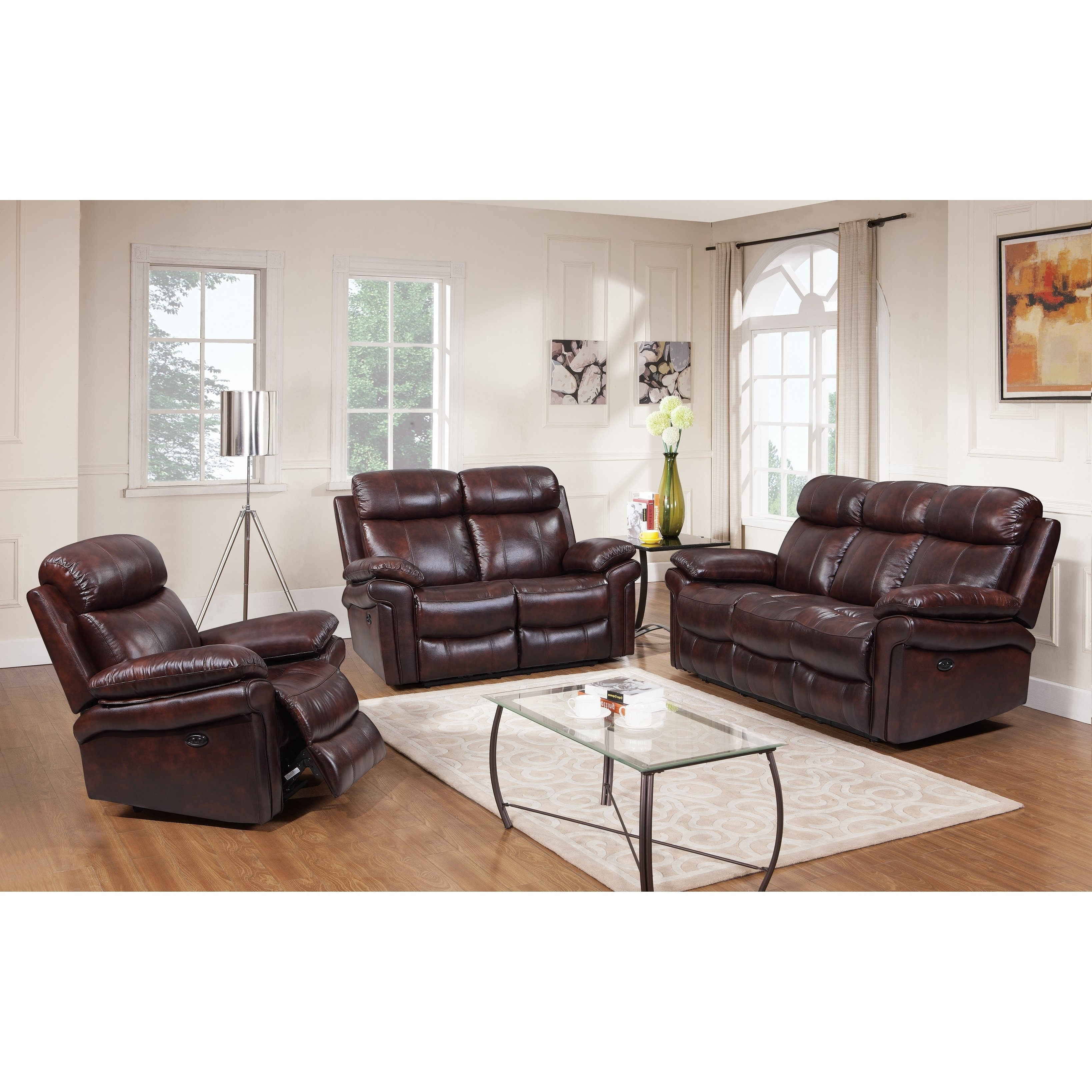 Shop Hudson Top Grain Leather Power Reclining Living Room Set Brown pertaining to 14 Awesome Initiatives of How to Build Living Room Leather Set