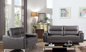 Shop Strick Bolton Vicente Grey Leather Gel 2 Piece Living Room with regard to 2 Piece Living Room Furniture Set