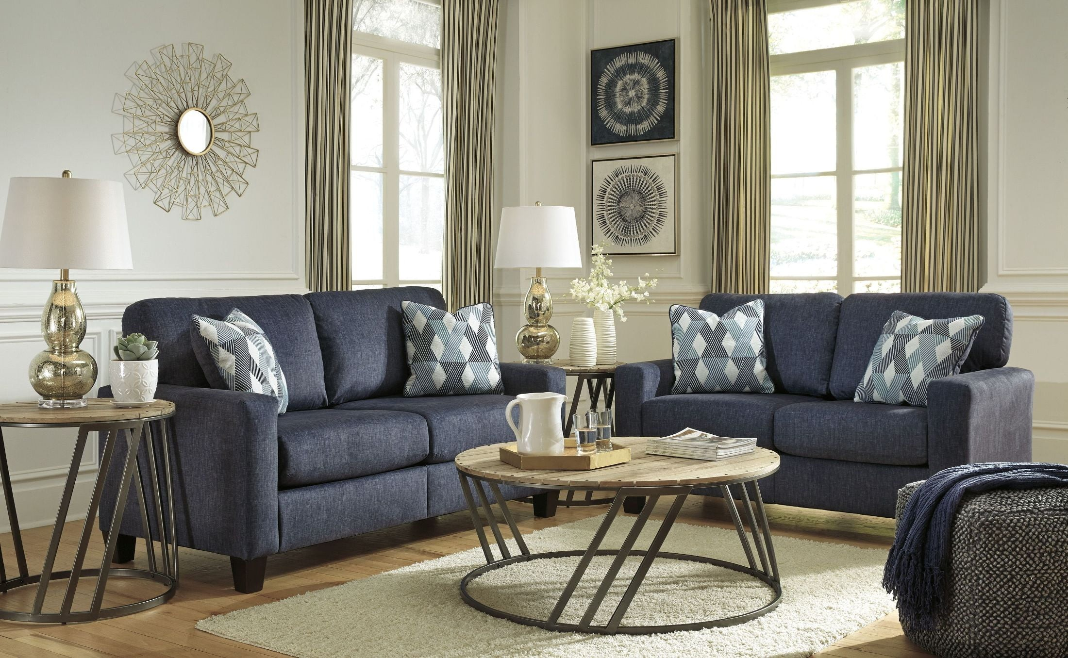 Signature Design Ashley Burgos Blue Living Room Set Burgos with regard to 12 Clever Initiatives of How to Craft Nice Living Room Set