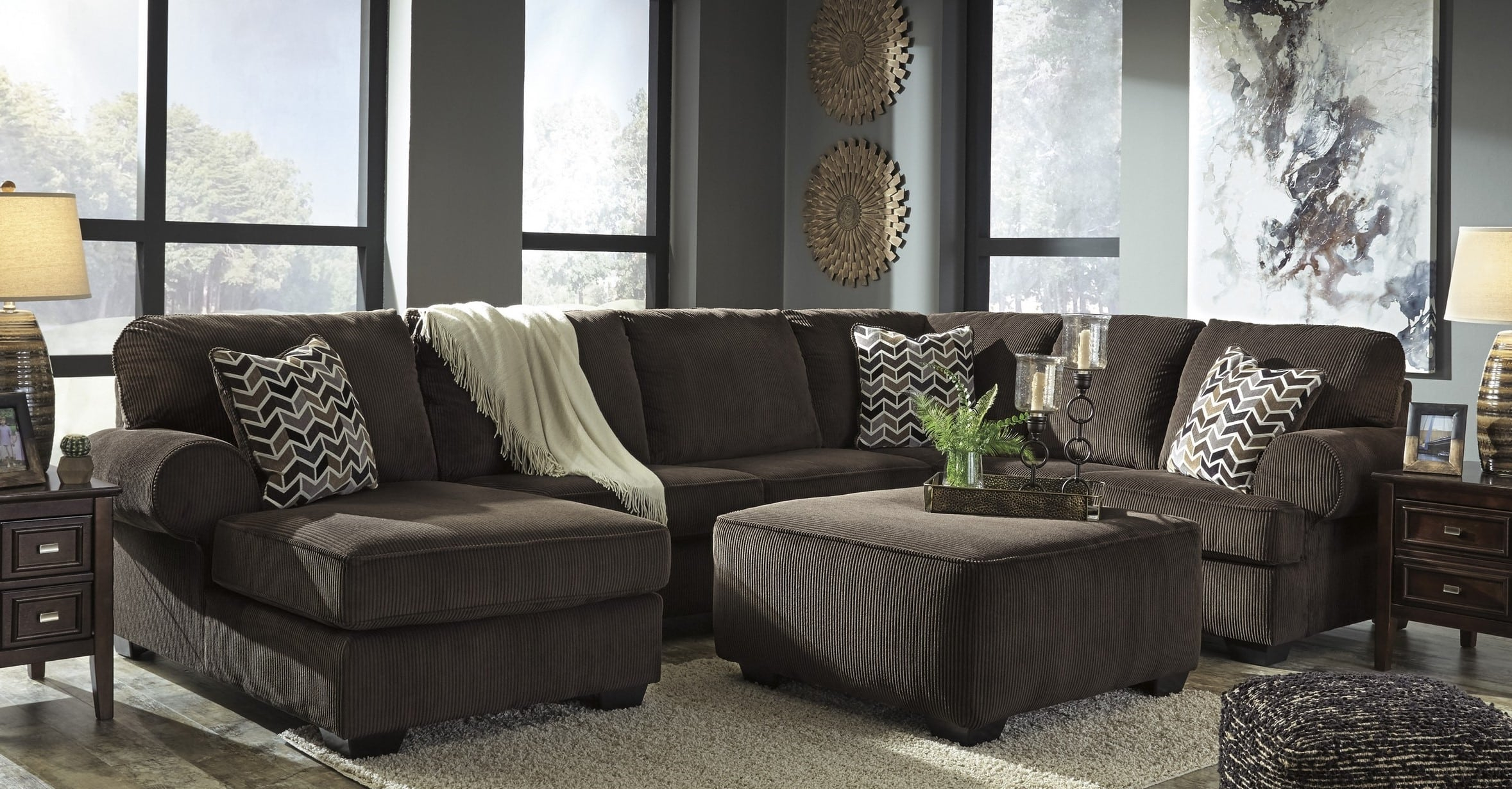 Signature Design Ashley Jinllingsly Chocolate 4 Piece Living Room pertaining to 12 Awesome Concepts of How to Craft Chocolate Living Room Set