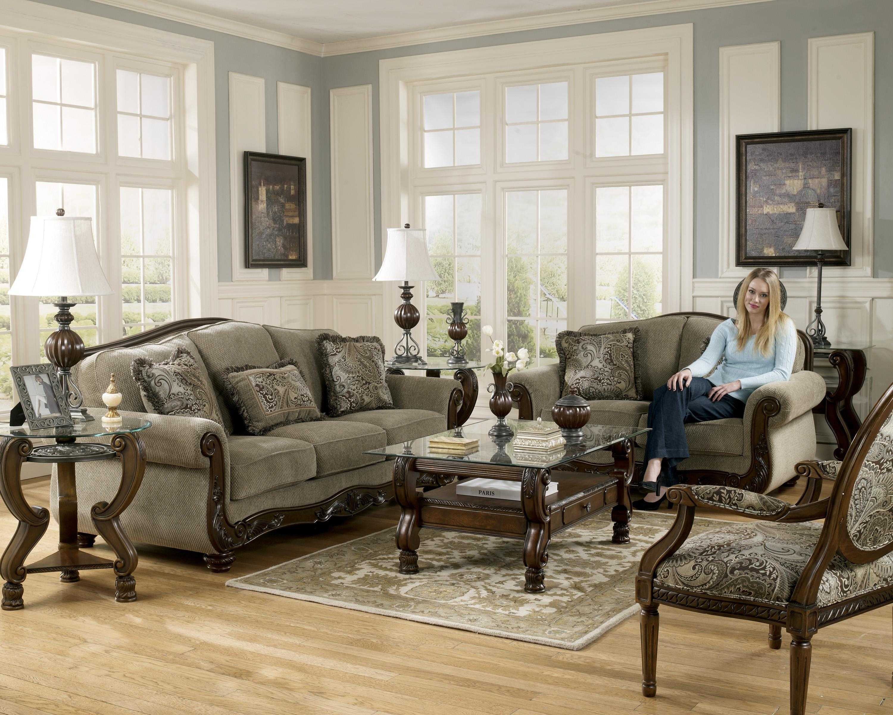 Signature Design Ashley Martinsburg Meadow Stationary Living throughout Living Room Sets Houston Tx