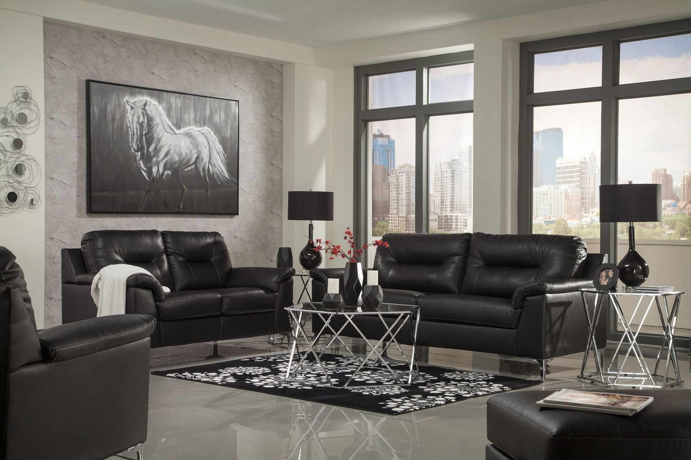 Signature Design Ashley Tensas Black Living Room Set Tensas inside White And Black Living Room Set