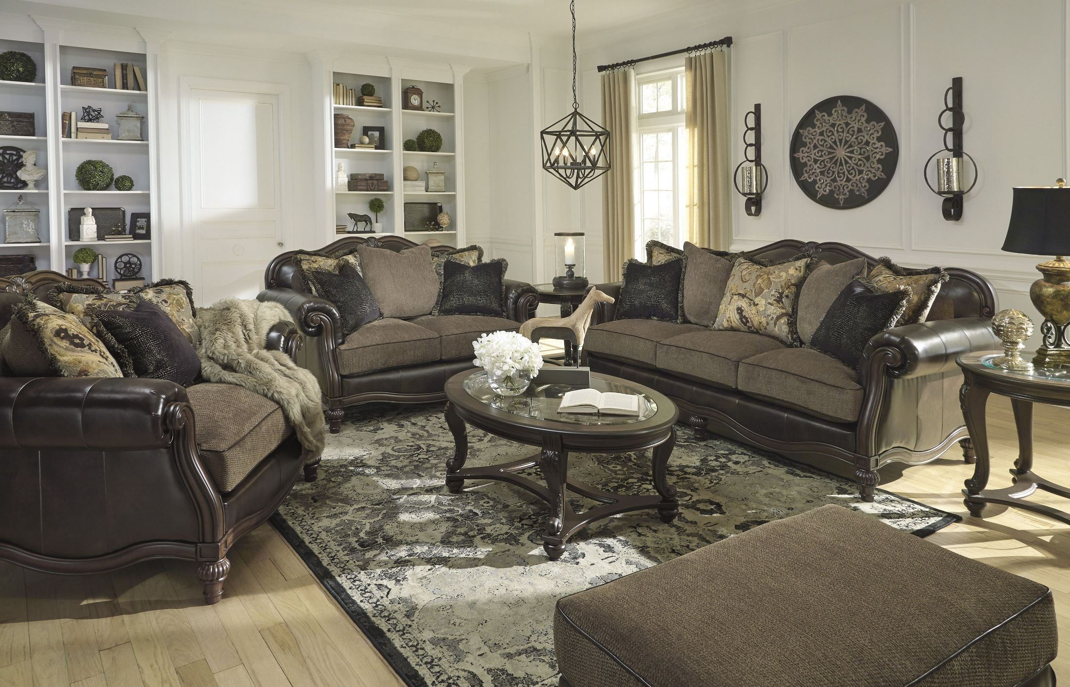 Signature Design Ashley Winnsboro Durablend Vintage Living Room throughout Free Living Room Set