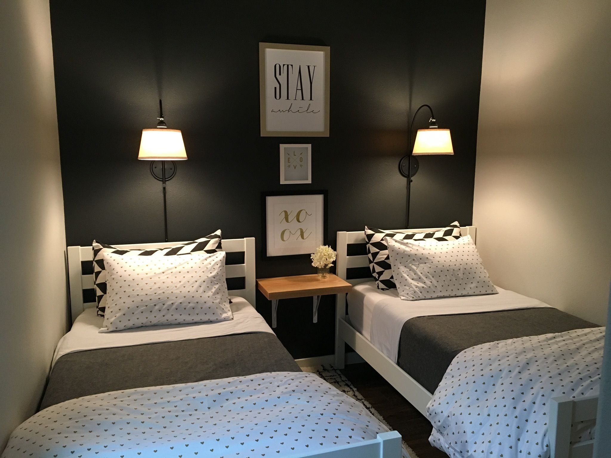 Small Guest Room With Two Twin Beds Wall Lights Bedroom Small inside Modern Bedroom Designs For Small Rooms