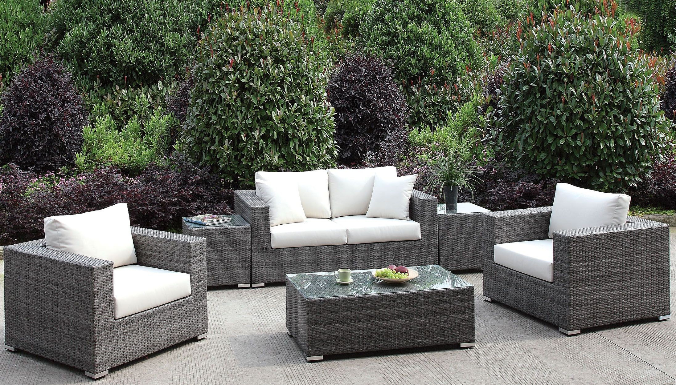 Somani Gray And Ivory Outdoor Living Room Set From Furniture Of in Outdoor Living Room Sets