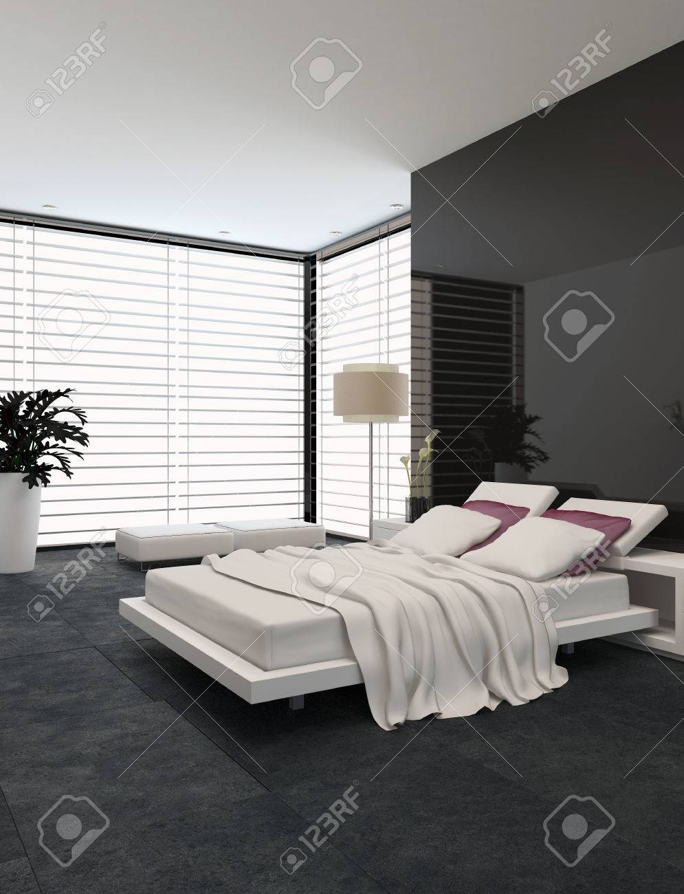 Spacious Modern Bedroom With An Adjustable Double Bed Large Stock with 11 Smart Initiatives of How to Improve Modern Bedroom Blinds