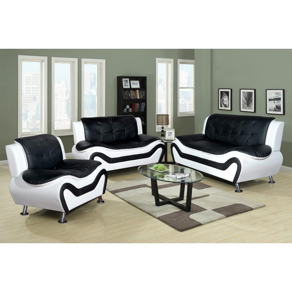 Star Home Living Corp White And Black Leather Three Piece Sofa Set within 3 Piece Black Leather Living Room Set