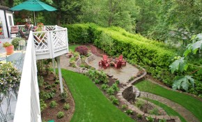 Steep Back Yard Landscape Sloped Backyard Yard Sloped Backyard pertaining to Landscaping For Sloped Backyards