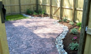 Townhouse Backyard With Stamped Concrete Patio And Simple Small for 13 Some of the Coolest Concepts of How to Craft Small Concrete Backyard Ideas