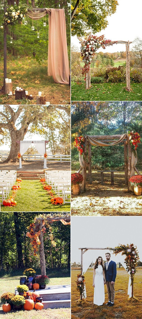 Trending Fall Wedding Arch And Altar Decoration Ideas inside Backyard Fall Wedding Ideas