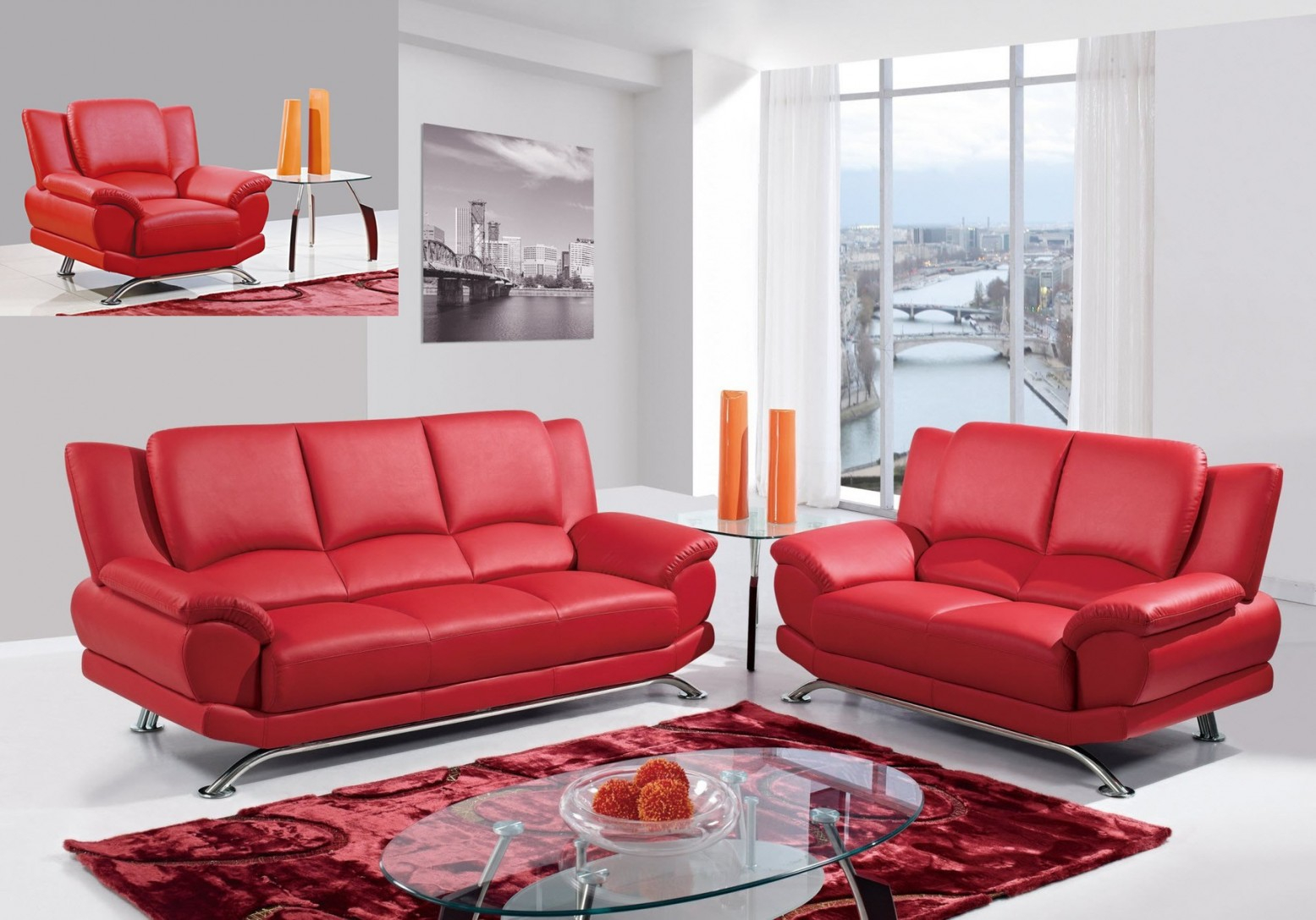 U9908 3 Piece Living Room Set Red Buy Online At Best Price intended for 10 Genius Designs of How to Make Red Living Room Sets For Sale