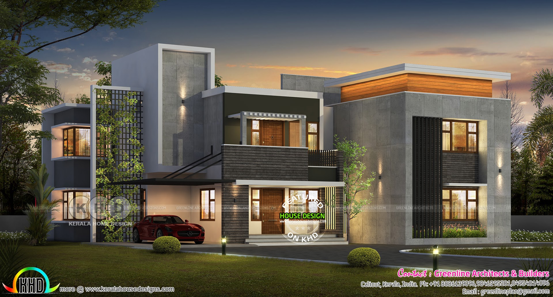 Ultra Modern 5 Bedroom Contemporary House Plan Kerala Home Design intended for Modern 5 Bedroom House Plans