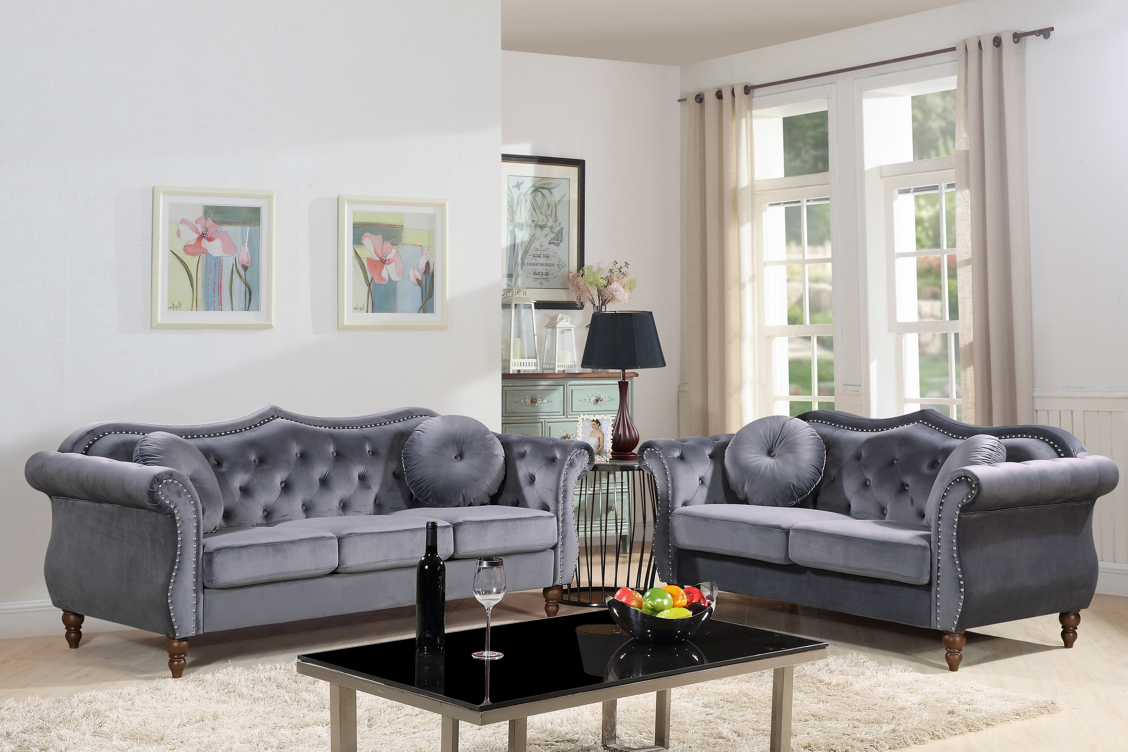 Us Pride Furniture Carbon Classic Nail Head Chesterfield 2 Piece inside 13 Genius Designs of How to Craft Chesterfield Living Room Set