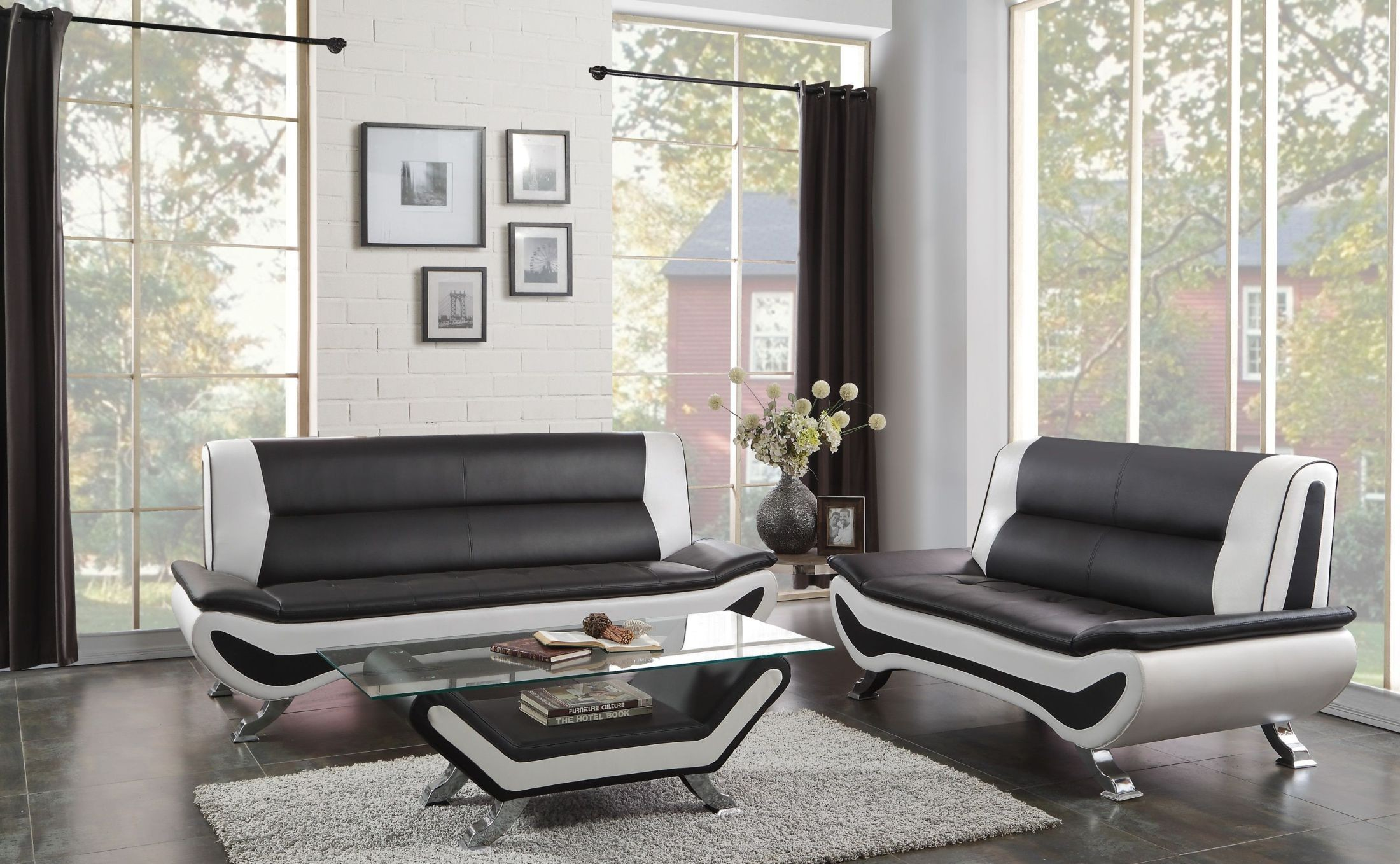Veloce Black And White Living Room Set From Homelegance Coleman regarding White Living Room Sets