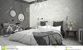 White And Gray Modern Bedroom With Cozy Double Bed Brick Wall within Gray Modern Bedroom