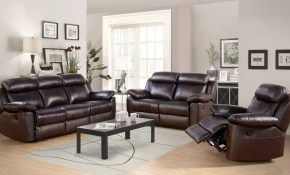 Breakwater Bay Oliver Reclining Leather 3 Piece Living Room Set with 3 Piece Reclining Living Room Set