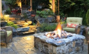 Decorating Concrete Outdoor Patio Ideas With Stone Fire Pit And within Backyard Patio Ideas With Fire Pit