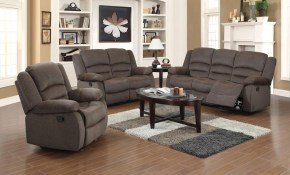 Ellis Contemporary Microfiber 3 Piece Dark Brown Living Room Set intended for 3 Piece Leather Living Room Set
