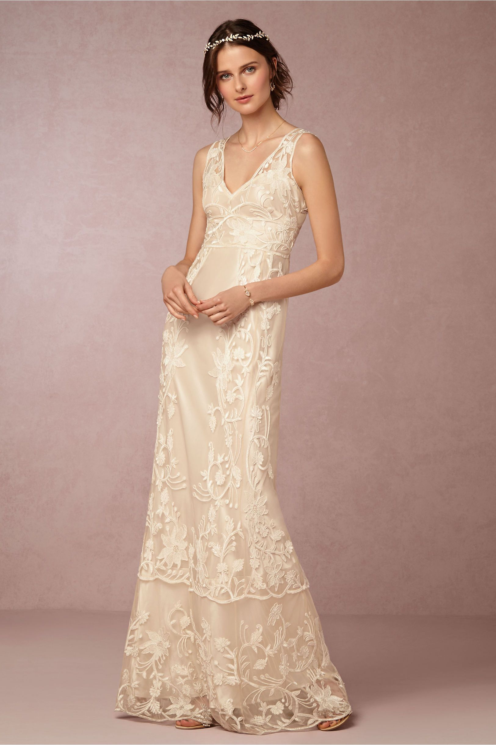 Embroidered Lace Wedding Dress Perfect For A Backyard Wedding Our pertaining to Backyard Wedding Dress Ideas
