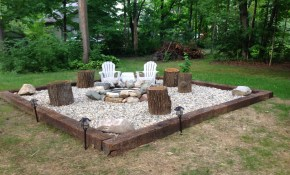 Fire Pit Rail Road Ties River Rock And A Ring Simple And Cheap intended for 13 Smart Ways How to Craft Backyard Rock Fire Pit Ideas