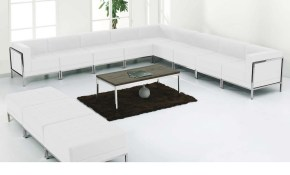 Flash Furniture Hercules Imagination Series White Leather Sectional in White Leather Living Room Set