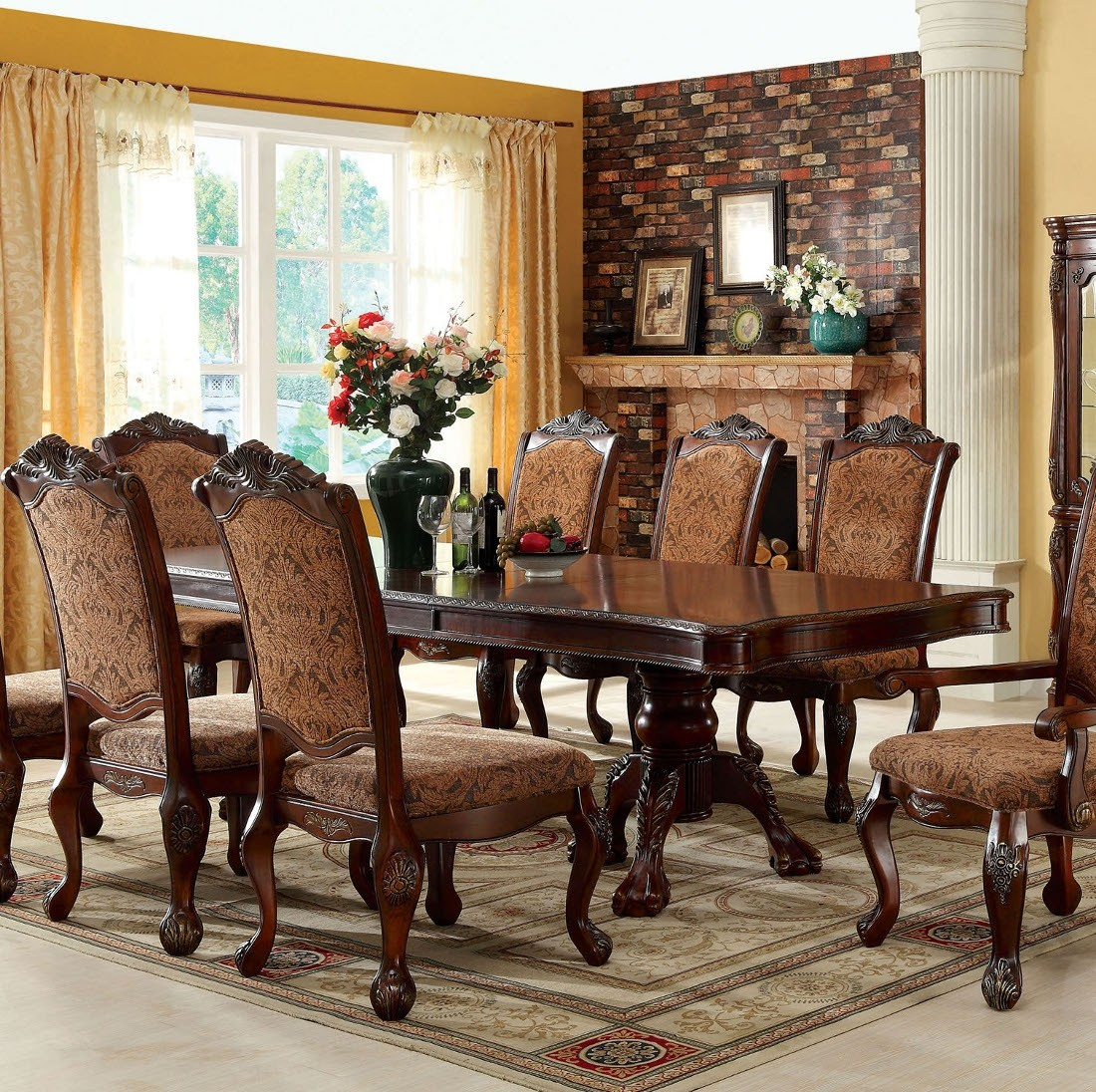 Furniture Of America Cromwell Dining Room Set In Antique Cherry in Antique Living Room Set